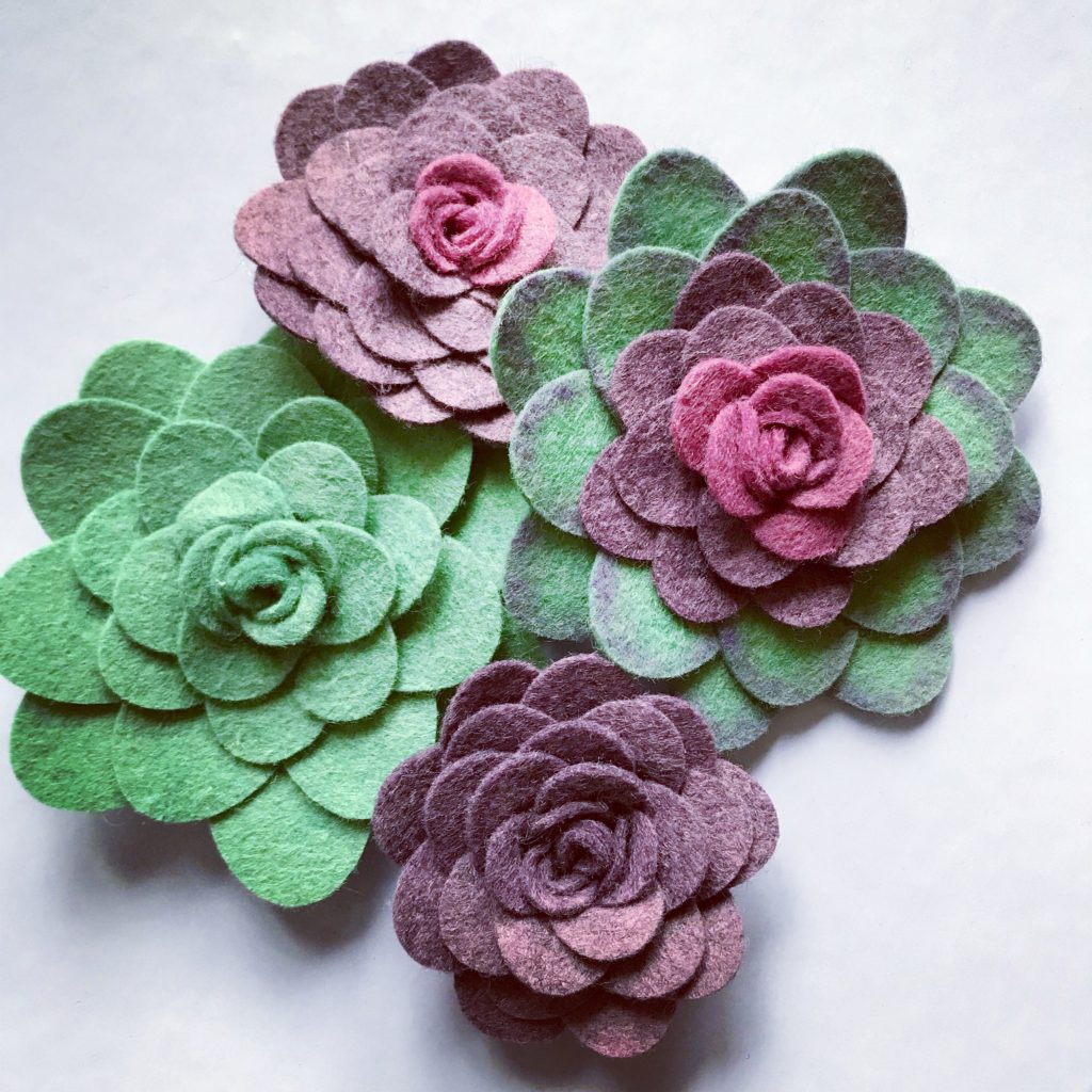 First succulents from Benzie Design felt precut ovals.